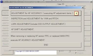 ADJUSTMENT for AF ACCURACY ( executing AF adjstment items)
